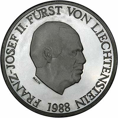 Obverse of 1988 Liechtenstein 10 Francs