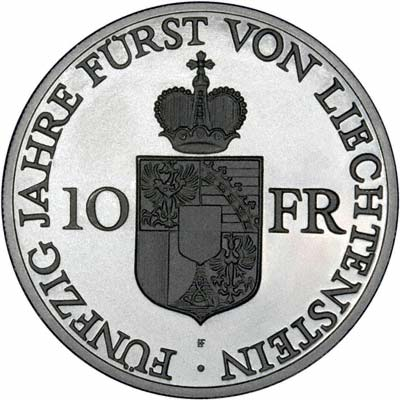 Reverse of 1988 Liechtenstein 10 Francs