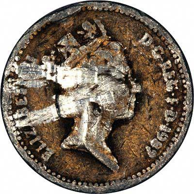 Obverse of 1989 Fake One Pound Coin