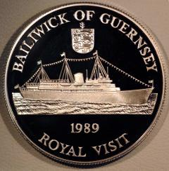 Royal Yacht Britannia on 1989 Guernsey Royal Visit Silver Two Pounds