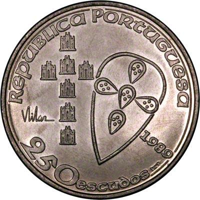 Obverse of 1989 Portugal 250 Escudos