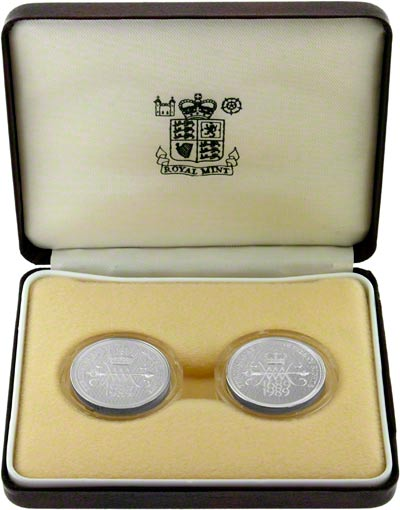 1989 Silver Proof Piedfort Two Coin Set