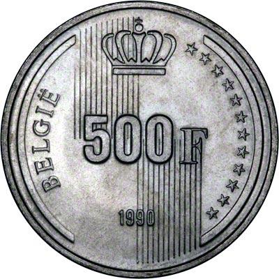 Reverse of 1990 Belgian 500 Francs