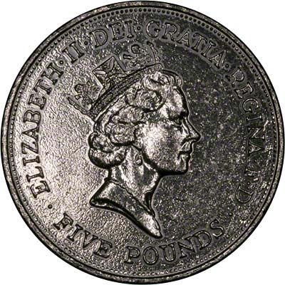 Obverse of Tumble Polished 1990 Queen Mother's 90th Birthday Crown