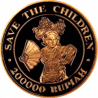 Reverse of 1990 Indonesian 200,000 Rupiah