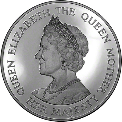 Obverse of 1990 Queen Mother's 90th Birthday Medallion
