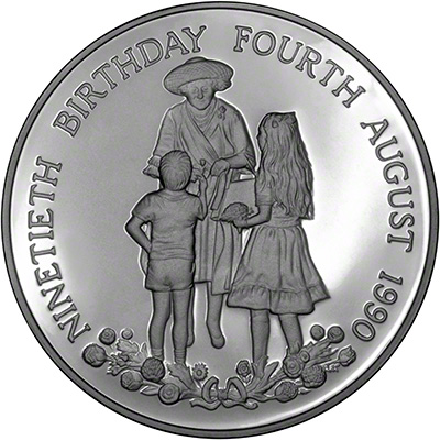 Reverse of 1990 Queen Mother's 90th Birthday Medallion