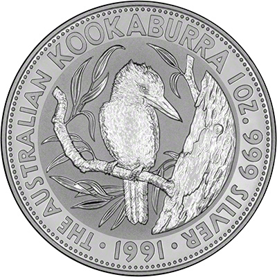 Reverse of 1991 Australian Silver Kookaburra