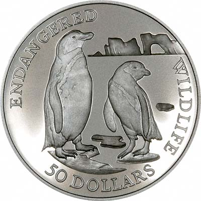 Jackass Penguin on Reverse of 1991 Cook Islands Silver Proof 50 Dollars