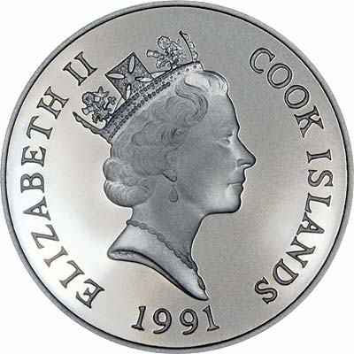 Obverse of 1991 Cook Islands Silver Proof 50 Dollars