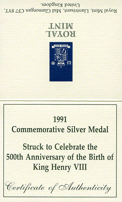 1991 Henry VIII Silver Medallion Certificate Obverse