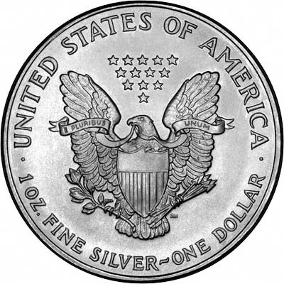 Reverse of 1996 American One Dollar Silver Proof Coin