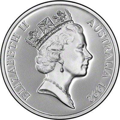 Obverse of 1992 Australia Silver Proof Twenty-Five Dollars