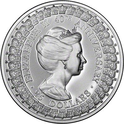 Reverse of 1992 Australia Silver Proof Twenty-Five Dollars - Princess Margaret