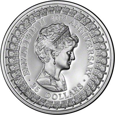 Reverse of 1992 Australia Silver Proof Twenty-Five Dollars - Princess of Wales