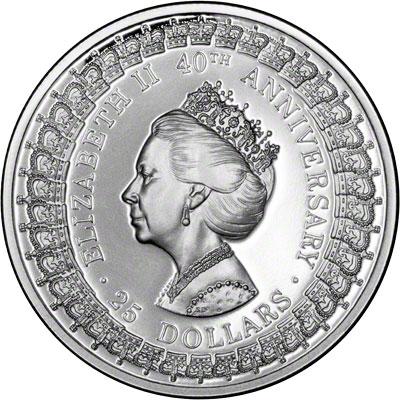Reverse of 1992 Australia Silver Proof Twenty-Five Dollars - Princess Royal
