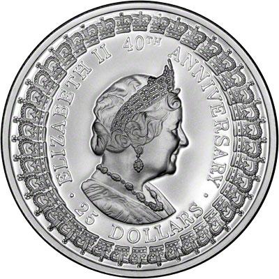 Reverse of 1992 Australia Silver Proof Twenty-Five Dollars - Queen Mother
