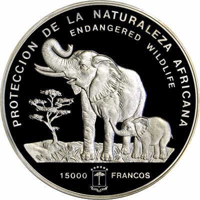 Reverse of 1992 Equatorial Guinea 15,000 Francos