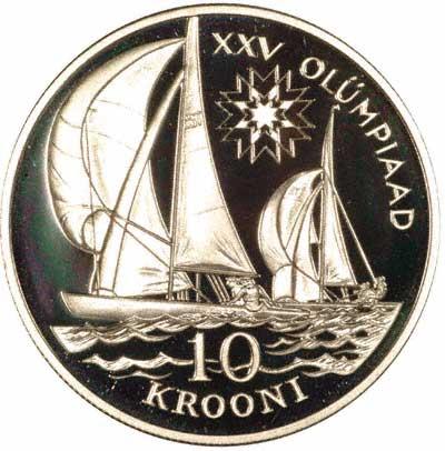 Obverse of 1992 Estonian 10 Krooni