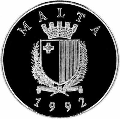 Obverse of 1992 Maltese 5 Liri