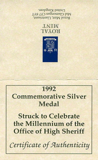 1992 Millennium of the Office of High Sheriff Silver Medallion Certificate Obverse
