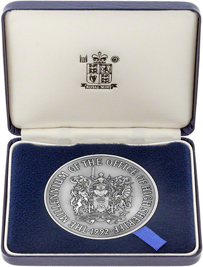 1992 Millennium of the Office of High Sheriff Silver Medallion In Presentation Box