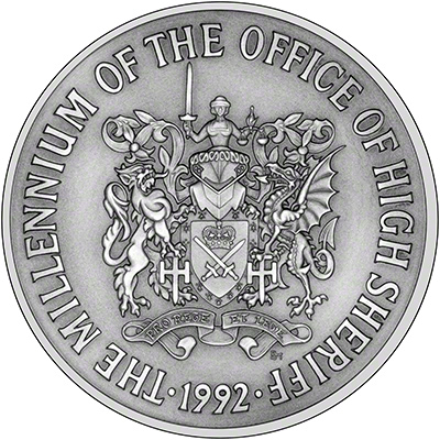 1992 Millennium of the Office of High Sheriff Silver Medallion Reverse