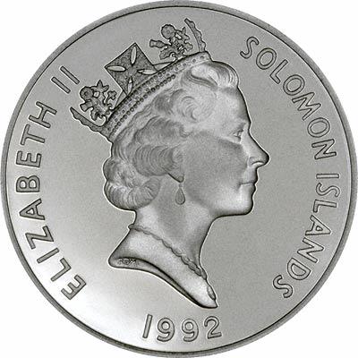 Obverse of 1992 Solomon Islands Coronation Anniversary Silver Proof 10 Dollars