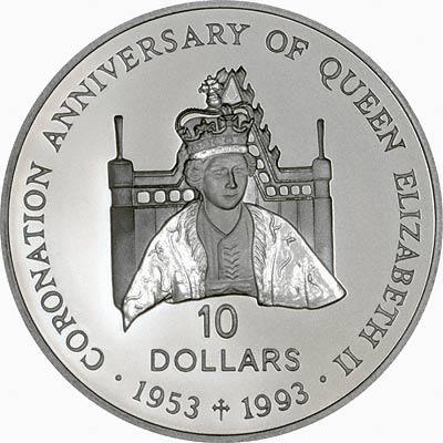 Reverse of 1992 Solomon Islands Coronation Anniversary Silver Proof 10 Dollars