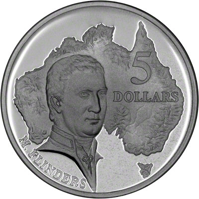 1993 $5 Matthew Flinders Silver Proof Coin from masterpieces in Silver Set