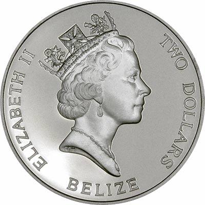 Obverse of 1993 Belize Silver 2 Dollars