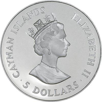Obverse of 1993 Cayman Islands 5 Dollars