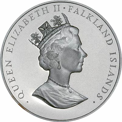 Obverse of 1986 Falkland Islands Fifty Pence Silver Proof Crown