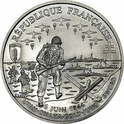 Obverse of 1993 French 1 Franc 50th Anniversary of D-Day Landings