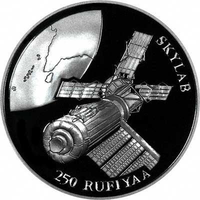 Skylab on Reverse of 1993 Maldives 250 Rufiyah Silver Proof Crown