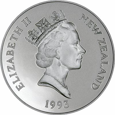 Obverse of 1993 New Zealand Silver Proof Silver Five Dollars
