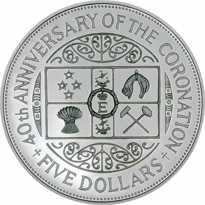 40th Anniversary of the Coronation on Reverse of 1993 New Zealand Silver Proof Silver Five Dollars