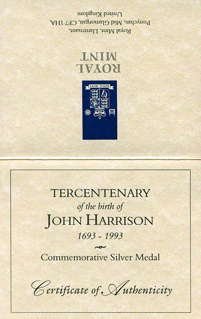 1993 John Harrison Medallion Certificate Obverse
