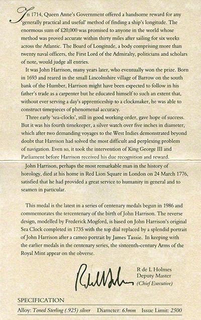 1993 John Harrison Medallion Certificate Reverse
