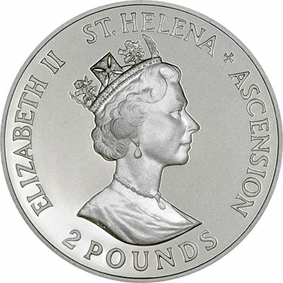 Obverse of Saint Helena & Ascension Silver Proof £2 Crown
