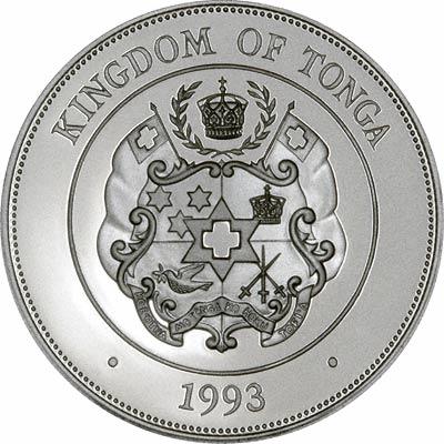 Obverse of 1993 Tonga Silver 2 Pa'Anga