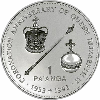 Reverse of 1993 Tonga Silver 1 Pa'Anga