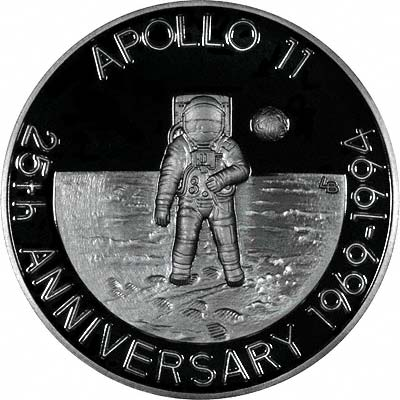 Reverse of 1993 Silver Proof 20 Crowns - 25th Anniversary of the Moon Landing Apollo 11
