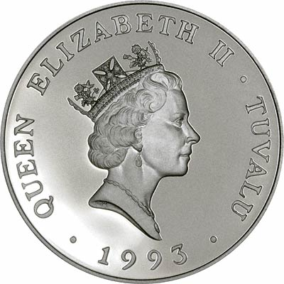 Obverse of 1993 Tuvalu $20 Silver Proof