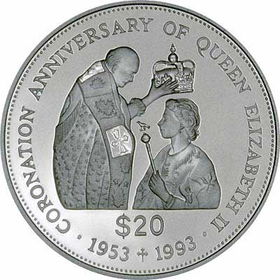 Queen Being Crowned on Reverse of 1993 Tuvalu $20 Silver Proof