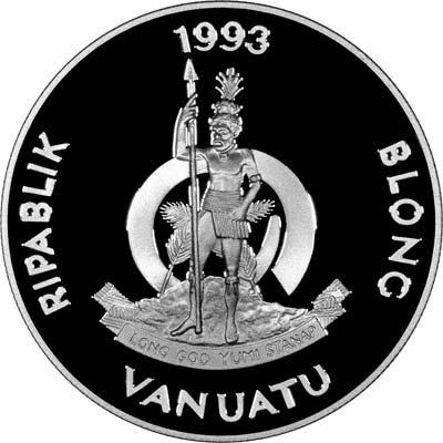 Obverse of 1993 Vanuatu Silver Proof 50 Vatu - The Boudeuse