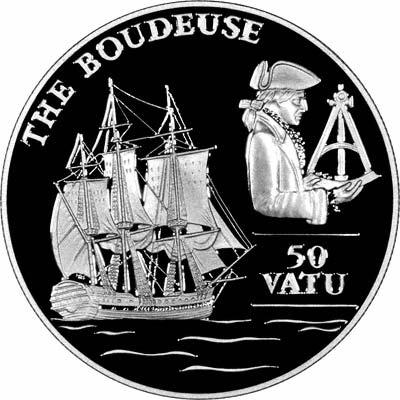 Reverse of 1993 Vanuatu Silver Proof 50 Vatu - The Boudeuse