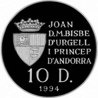 Obverse of 1994 Andorran Silver Proof 10 Diners