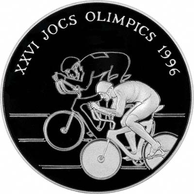 Cycling Theme on Reverse of 1994 Andorran Silver Proof 10 Diners