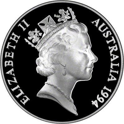 Obverse of 1994 Australia Silver Proof Ten Dollars